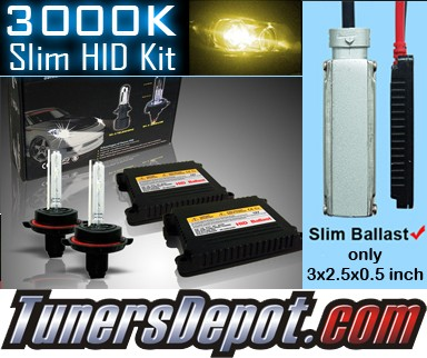 TD® 3000K HID Slim Ballast Kit - H16/5202/9009 Universal With Check Engine Light Canceller