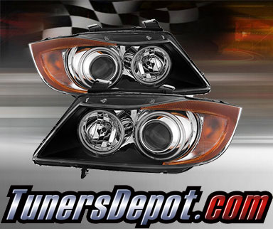 TD® CCFL Halo Projector Headlights (Black) - 07-08 BMW 328xi 4dr E90