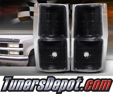 TD® Clear Corner Lights 4pcs (JDM Black) - 94-99 Chevy Suburban C/K Full Size