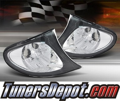 TD® Clear Corner Lights (JDM Black) - 02-05 BMW 325Xi 4dr E46