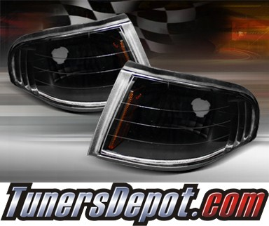 TD® Clear Corner Lights (JDM Black) - 94-98 Ford Mustang w/ Amber Reflector