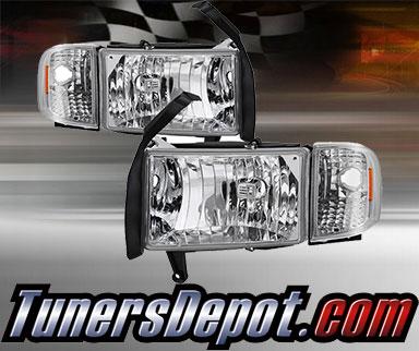 For 99-01 Ram 1500 Sport Only Black Headlights Corner Set LED Tail Lights