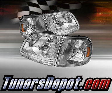 Td Crystal Headlights Corner Lights Set Chrome 98 02 Ford Expedition Hd Jh Ff15097 Am C