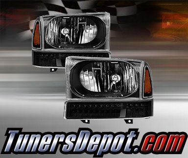99 F350 Headlights >> Td Crystal Headlights Led Bumper Lights Set Black 99 04 Ford F 350 F350 Super Duty