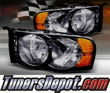 TD® Crystal Headlights (Smoke) - 03-05 Dodge Ram 2500 / 3500 Pickup (w/ Amber Reflector)