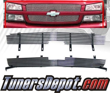 TD® Front Billet Style Grill Grille (Chrome) - 02-05 Chevy Avalanche WITHOUT Body Cladding
