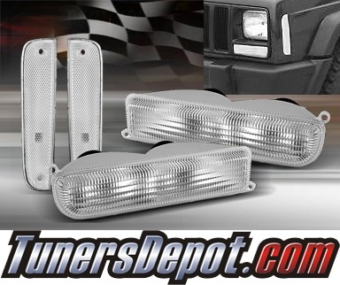 TD® Front Bumper Lights Side Marker Set (Clear) - 97-01 Jeep Cherokee