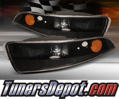 TD® Front Bumper Signal Lights (JDM Black) - 93-02 Chevy Camaro w/ Amber Reflector
