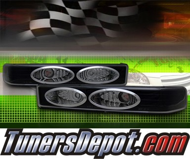 TD® Front Bumper Signal Lights (JDM Black) - 98-04 Chevy S10 S-10