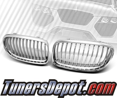 TD® Front Kidney Grills Grilles (Chrome) - 09-11 BMW 328i 4dr Sedan E90