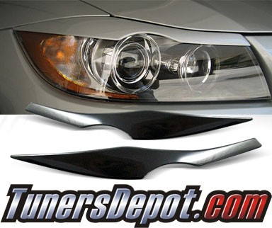 TD® Headlight Eye Lid Headlight Covers (Black) - 07-08 BMW 335xi 4dr E90 (Eyelids/Eyebrows)