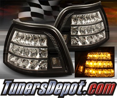 TD® LED Clear Corner Lights (JDM Black) - 96-98 BMW 328i 4dr E36
