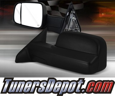 TD® Manual Extending Towing Side View Mirrors (Black) - 10-12 Dodge Ram Pickup 2500/3500