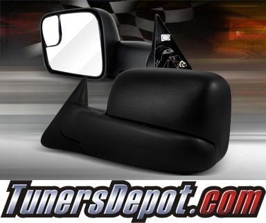 TD® Manual Extending Towing Side View Mirrors (Black) - 94-01 Dodge Ram Pickup