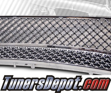 TD® Mesh Front Grill Grille Set (Chrome) - 05-10 Scion tC (Upper and Lower Grill)