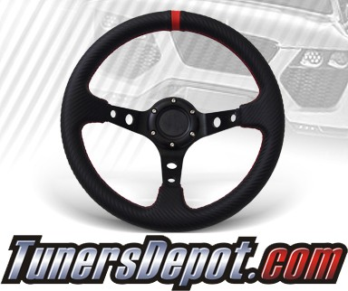 TD Steering Wheel - Drifting Style Deep Dish Carbon Style with Red Stitch