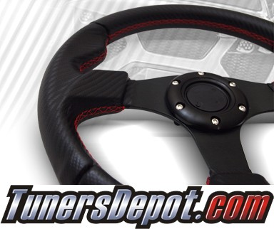 TD Steering Wheel - Fighter Jet Style Black Carbon style w Red Stitch and Black Center