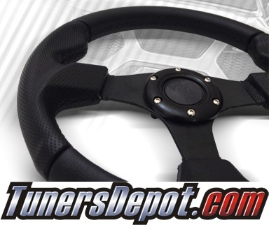 TD Steering Wheel - Fighter Jet Style Black w Black Stitch and Black Center
