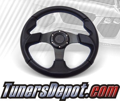 TD Steering Wheel - Fighter Jet Style Black w Blue Stitch and Black Center