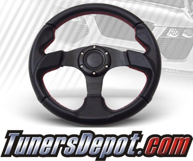 TD Steering Wheel - Fighter Jet Style Black w Red Stitch and Black Center
