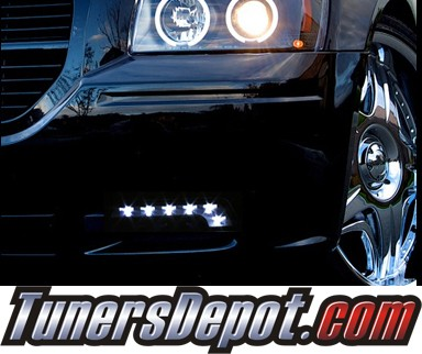 TD® Universal 6 LED DRL Driving Lights (Super White) - Chrome (Benz Style)