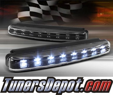 TD® Universal 8 LED DRL Driving Lights (Super White) - Black 6.25&quto; x 0.75&quto; x 1.75&quto;