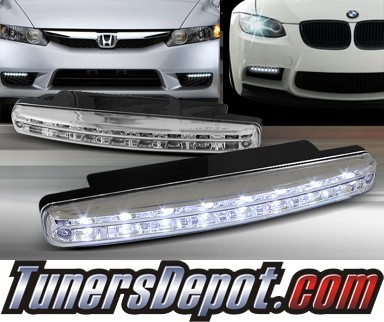 TD® Universal 8 LED DRL Driving Lights (Super White) - Chrome 6.25