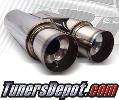 TD® Universal Muffler - Dual Canister Color Tip w/ Silencers