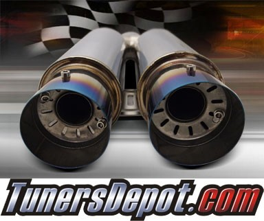 TD® Universal Muffler - Dual Canister Color Tips w/ Silencers