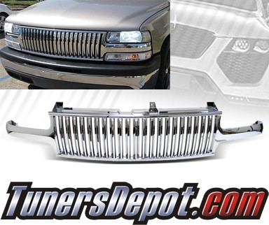 TD® Vertical Front Grill Grille (Chrome) - 00-05 Chevy Tahoe