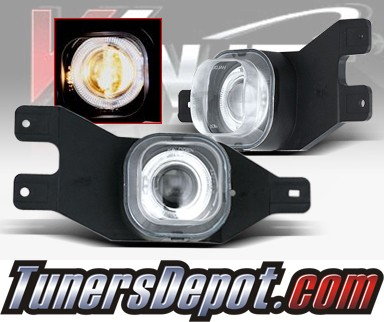 WINJET® Halo Projector Fog Light Kit (Clear) - 99-04 Ford F-350 F350 (OEM Replacement Only)