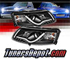 Sonar® Light Bar DRL Projector Headlights (Black) - 05-07 Audi A6 (Exc. Quattro)