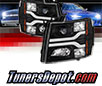 Sonar® Light Bar DRL Projector Headlights (Black) - 07-14 Chevy Silverado 2500/3500