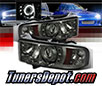 Sonar® CCFL Halo Projector Headlights (Smoke) - 99-01 Dodge Ram Pickup 1500 (SPORT Model)