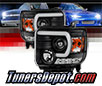 Sonar® Light Bar DRL Projector Headlights (Black) - 14-15 GMC Sierra (w/ Factory LED DRL)