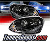 Sonar® DRL LED Projector Headlights (Black) - 06-09 VW Volkswagen Golf