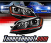 Sonar® Light Bar DRL Projector Headlights (Black) - 15-17 VW Volkswagen Golf (w/ Red Stripe)