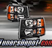 TD® DRL LED Crystal Headlights (Black) - 07-14 Chevy Silverado 2500HD/3500HD