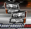 TD® Crystal Headlights + Bumper Lights Set (Black) - 03-07 Chevy Silverado 1500HD
