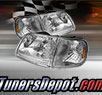 TD® Crystal Headlights + Corner Lights Set (Chrome) - 98-02 Ford Expedition