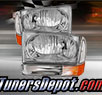 TD® Crystal Headlights + Bumper Lights Set (Chrome) - 99-04 Ford F-250 F250 Super Duty