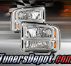 TD® 1pc Harley Style Crystal Headlights (Chrome) - 99-04 Ford F-250 F250 Super Duty