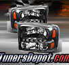 TD® 1pc Harley Style LED Crystal Headlights (Black) - 99-04 Ford F-250 F250 Super Duty