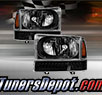 TD® Crystal Headlights + LED Bumper Lights Set (Black) - 99-04 Ford F-450 F450 Super Duty