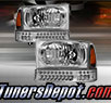 TD® Crystal Headlights + LED Bumper Lights Set (Chrome) - 99-04 Ford F-250 F250 Super Duty