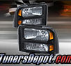 TD® Crystal Headlights (Black) - 05-07 Ford F-250 F250 Super Duty
