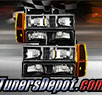 TD® Crystal Headlights + Amber Corner + Bumper Lights Set (Black) - 94-99 GMC Suburban