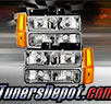 TD® Crystal Headlights + Amber Corner + Bumper Lights Set (Chrome) - 94-99 GMC Suburban