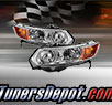 TD® Crystal Headlights (Chrome) - 06-11 Honda Civic 2dr