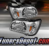 TD® 1pc DRL LED Crystal Headlights with Black Trim Corner Lights (Chrome) - 01-04 Toyota Tacoma